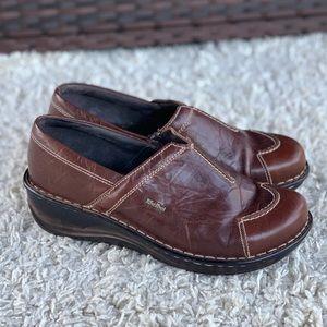 Josef Seibel Brown Leather Slip On Clog Zipper Round Toe Comfort Shoe Wedge EUC